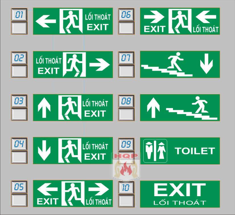 mẫu hộp đèn exit